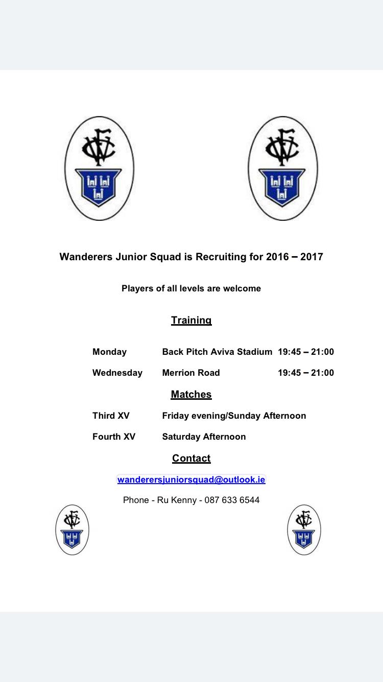Wanderers Junior Squad Recruiting